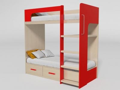 Кровать двухъярусная №7 красная
