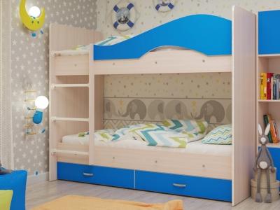 Кровать двухъярусная Мая с ящиками дуб-синий