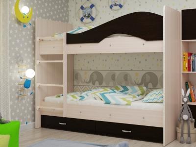 Кровать двухъярусная Мая с ящиками дуб-венге
