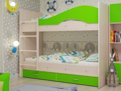 Кровать двухъярусная Мая с ящиками дуб-зеленый