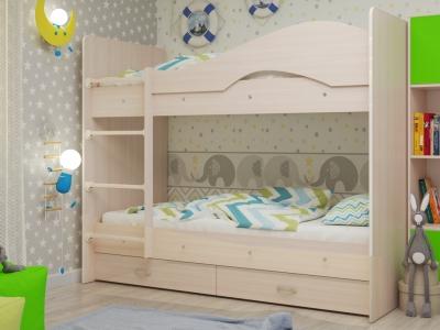 Кровать двухъярусная Мая с ящиками млечный дуб