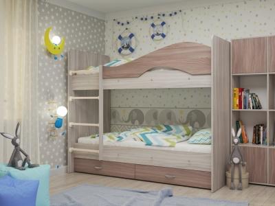 Кровать двухъярусная Мая с ящиками ясень шимо