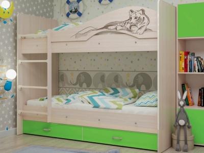 Кровать двухъярусная Мая-Сафари с ящиками дуб-зеленый