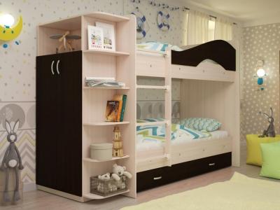 Кровать двухъярусная Мая со шкафом и ящиками дуб-венге