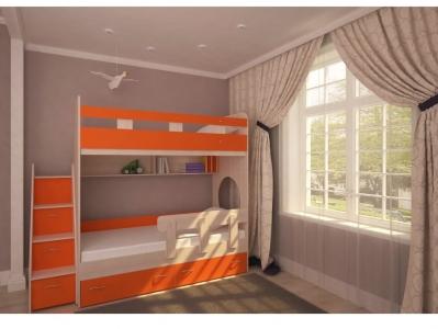 Кровать двухъярусная Юниор 1 с бортиком дуб-оранж