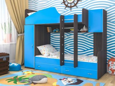 Кровать двухъярусная Юниор 2 бодега-голубой