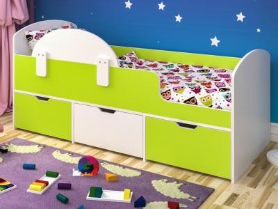 Кровать Малыш Мини белое дерево-лайм с бортиком