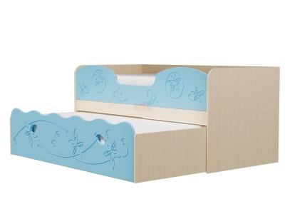 Кровать Омега 11 МДФ млечный дуб-голубое небо