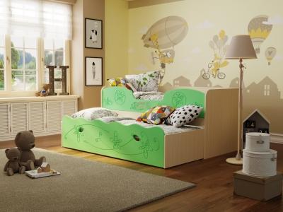 Кровать Омега 11 МДФ млечный дуб-салатовая шагрень