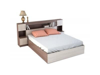 Кровать с прикроватным блоком КР 552 Бася шимо темный-шимо светлый