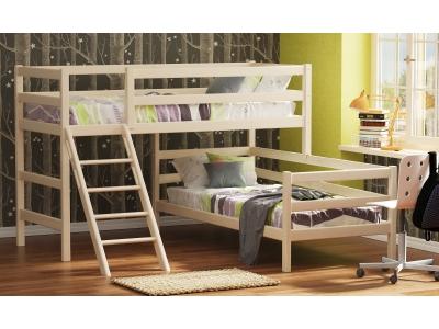 Кровать угловая из массива вариант №8 Омега 14