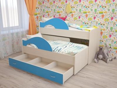 Кровать выкатная Радуга с ящиками синяя