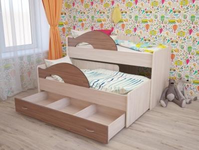 Кровать выкатная Радуга с ящиками ясень шимо