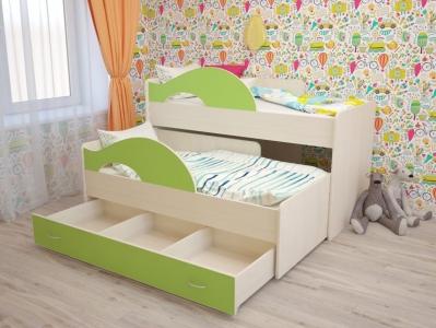 Кровать выкатная Радуга с ящиками зеленая