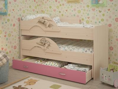 Кровать выкатная Радуга-Сафари с ящиками дуб-розовый