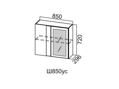 Кухня Прованс Шкаф навесной угловой со стеклом 850 Ш850ус 720х850х296мм