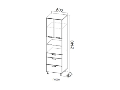 Кухня Волна Пенал с ящиками 600 П600я 2140х600х562мм