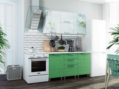 Кухонный гарнитур Бьянка 1500 салатовые блестки/фотопечать