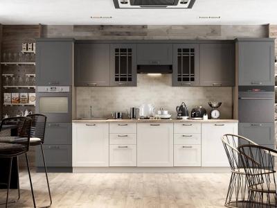 Кухонный гарнитур Одри 3,9 Серый шелк, Бежевый шелк