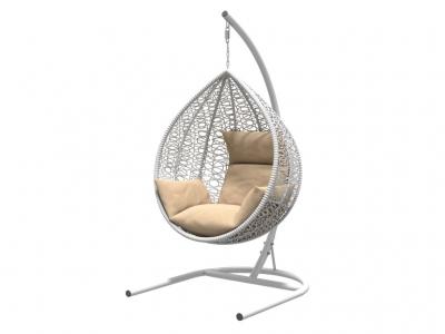 Подвесное кресло Бароло белая рама подушки бежевые
