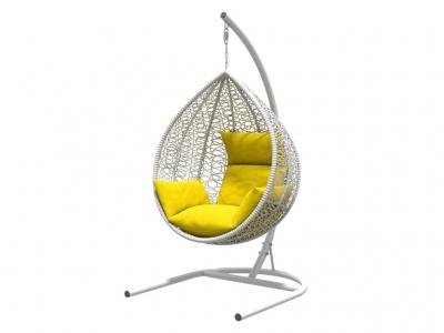 Подвесное кресло Бароло белая рама подушки желтые