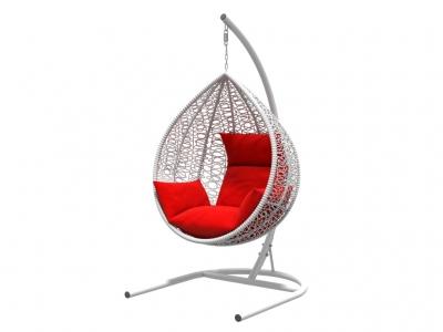 Подвесное кресло Бароло белая рама подушки красный