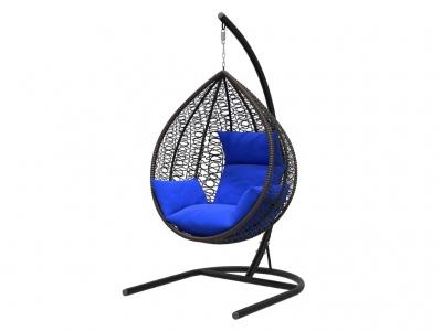 Подвесное кресло Бароло черная рама подушки синие