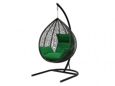Подвесное кресло Бароло черная рама подушки зеленые