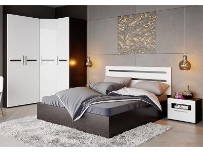 Спальный гарнитур Фьюжн ГН-260.101 Белый глянец, Венге Линум