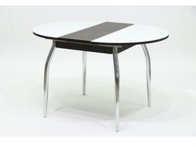 Стол круглый раздвижной со стеклом Гала 3 венге белый