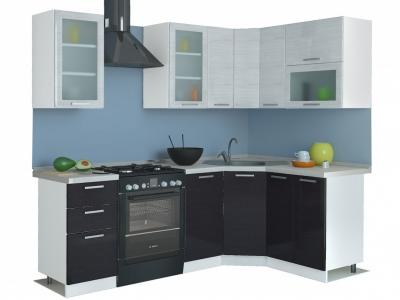 Угловая кухня Равенна Стайл 1,65х1,45 титан белый/титан черный