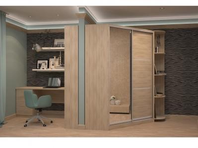 Угловой шкаф-купе Анна с угловым элементом ясень шимо светлый