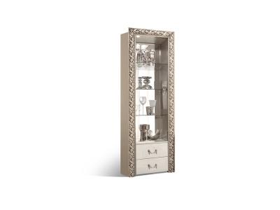 Витрина 1-створка для посуды левая/правая с ящиками ТФВ3-1С(П) Тиффани Премиум Слоновая кость серебро